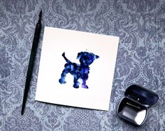 Puppy dog Card, Puppy Card, New Puppy Card, Hello Puppy, Small dog card, Dog silhouette card, Watercolor card, Canine Card, Veterinary Card by BEEautifulcreatures on Etsy