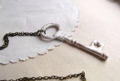 Key necklace  skeleton key necklace  skeleton by FleetwoodandCo, $27.00
