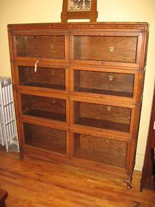 Antique Arts&Crafts Oak Macey Stack Bookcase Double Wide Sectional Barristers