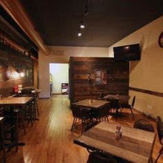 Mama Gustos 314 in Carondelet area of St Louis, MO. Bar side with barnwood and stone.
