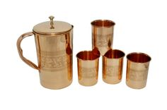 Copper Jug with 6 Glasses | IKH101055S60207 | $39.99