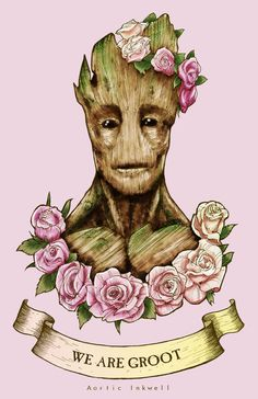 "An 11""x17"" print of Groot from the movie ""Guardians for the Galaxy""   Now with 100% more flower crowns!"