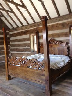 Custom Walnut Four Poster Bed - See more at: http://chambersarchitects.com/cutting-horse-ranch-in-parker-county.html#sthash.pat0LhgQ.dpuf And see all of our custom ranch homes at: http://chambersarchitects.com/ranches/custom-ranch-home.html