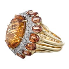 Henry Dunay Citrine and Madeira Citrine Designer Gold Ring image 2