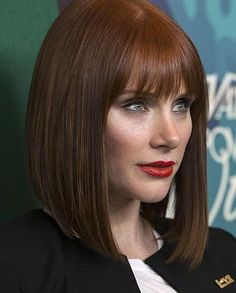 Bob Haircut With Bangs, Haircut And Color, Hairstyles With Bangs, Girl Hairstyles, Bryce Dallas Howard, Prettiest Actresses, Balayage Highlights, Long Bob, Celebrity Hairstyles