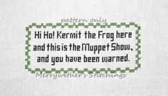Muppet Show - You Have Been Warned - Cross Stitch PATTERN.