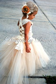 Custom Made Champagne Flowergirl Dress. Corset top, tutu skirt with train and hair clip. Size 12m-5T. Custom sizes and colors available #EasyPin