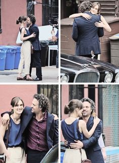 Keira and Mark on set of begin again