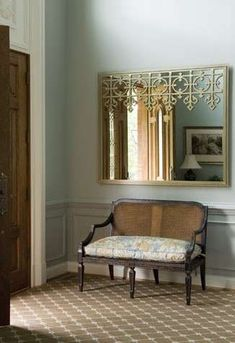 The front in this Clifton, VA home, decorated by Annette Hannon, showcases a by Salvations Architectural Furnishings. Entry Bench, Entry Foyer, Front Entry, Love Home, My Dream Home, Home Design Magazines, Virginia Homes, House Design Photos, Mirrored Furniture
