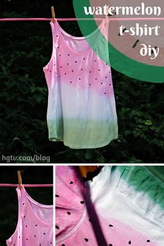 DIY Dip-Dyed Watermelon Shirt - This would be a great birthday party activity/DIY take-home favor! Diy Tie Dye Shirts, T Shirt Diy, Ty Dye, Watermelon Birthday Parties, Tie Dye Party, Tie Dye Crafts, Tie Dye Techniques, How To Tie Dye, Shirt Designs