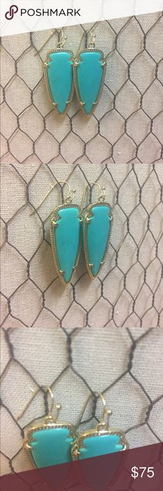 "Turquoise Kendra Scott Sky earrings An edgy arrowhead silhouette adds instant impact with bright teal stones. Part of the Kendra Scott's classic collection, these favority earrings are all the rage this season. ⚡️14K Gold Plated Over Brass ⚡️Size: 1.75""L X 0.6""W on earwire ⚡️ FOR THE BEST VIEW OF THE COLOR LOOK AT THE LAST IMAGE.  ⚡️ they don't make this style anymore ⚡️Please note: Due to the one-of-a-kind nature of the medium, exact color patterns may vary slightly from the image…"