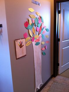 We cut out the tree trunk and colored it in and then came the leaves. Each day we'd talk about what we were thankful for and write it on a leaf (or apple) and add it to the tree.