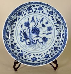 """Chinese Blue and white porcelain lotus charger 13 1/4"""" D"""