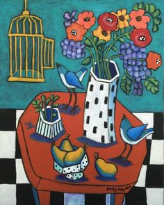 """ARTFINDER: """"Sur la Table"""" by Holly Wojahn - Let's Brighten things up a bit, shall we??? As all my Tables have sold out from under me, I thought it time to begin replacing those!!!! Popping the color up..."""