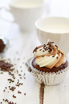 Chocolate Cupcakes with Nutella Frosting!!
