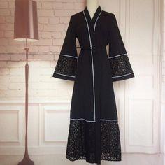 Muslim dress abaya dubai Lace abayas for women moslim jurken islamitische kleding open abaya feminina islamic clothes kaftans . Abaya Fashion, Muslim Fashion, Women's Fashion Dresses, Fashion Muslimah, Modesty Fashion, Abaya Noir, Mode Abaya, Abaya Designs Dubai, Hijab Style