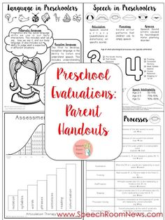 Parent Handouts for Preschool Speech and Language Evaluations. These are so parent friendly!