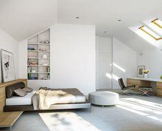 Sypialnia na poddaszu, całość wraz z garderobą i prywatną łazienką ma aż 42,6 m2. Zobacz rzuty projektu! :)