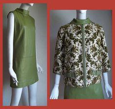 Vintage 60s Mod Samuel Robert Playdeck Tapestry Jacket Leather Mini Dress Suit B36 W32. $75.00, via Etsy.