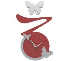 Wanduhr Butterfly - rot - Callea