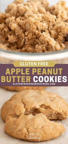 Delightfully thick and chewy gluten free apple peanut butter cookies with tiny, fork-tender chunks of diced apple throughout and rich peanut butter flavor. Apple And Peanut Butter, Peanut Butter Cookies, Yummy Cookies, Fall Cookies, Almond Butter, Yummy Treats, Yummy Food, Gluten Free Bakery, Gluten Free Sweets