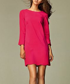 Another great find on #zulily! Pink Scalloped Crew Neck Dress by NIFE #zulilyfinds