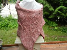 Hand Knitted dyed wool mohair spun dusty rose pink by Micheleshats