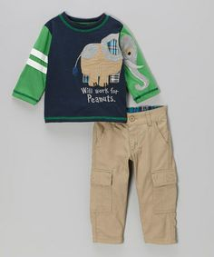 Take a look at this Navy 'Peanuts' Tee & Cargo Pants - Infant, Toddler & Boys by Nannette on #zulily today!