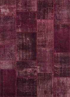 #Aubergine #tapijt uit de collectie #Vintage Patchwork tapijten van Carpet@Home.