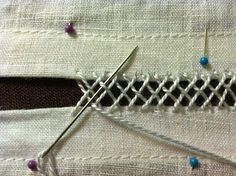 The Compleatly Dressed Anachronist: Interlaced Herringbone Insertion Stitch Cutwork Embroidery, Hand Embroidery Stitches, Embroidery Techniques, Sewing Techniques, Sewing Basics, Sewing Hacks, Serger Stitches, Types Of Textiles, Bookbinding Tutorial