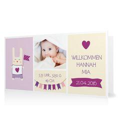 Geburtskarte Willkommen mit Wimpeln in Vanille - Klappkarte flach lang #Geburt #Geburtskarten #Mädchen #Foto #kreativ #modern https://www.goldbek.de/geburt/geburtskarten/maedchen/geburtskarte-willkommen-mit-wimpeln?color=vanille&design=f7f75&utm_campaign=autoproducts