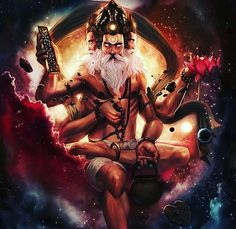 Brahma Dev ब्रह्मा - Is the Hindu god of creation and one of the Trimurti, the others being Vishnu and Shiva. Hindu, Spiritual Art, Goddess, Hindus, Deities, Art, Mythology, Hinduism, Hindu Deities