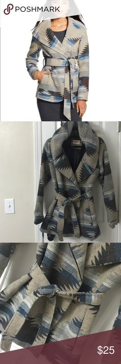 Aztec Blue and Grey Coat Blue & Gray Aztec Coat with hood. Excellent condition - barely worn. Size is Juniors XL (tag removed), but it will fit a Medium/Large in women's. Mossimo Supply Co Jackets & Coats Pea Coats