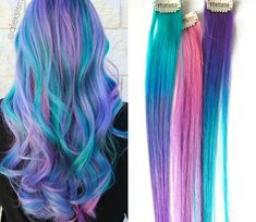 Bring out your inner unicorn with an ombre human hair extension! If you want a streak of color, or want to transform your hair into rainbow mermaid goodness, we have you covered!Our hair is vivid…More Pastel Ombre, Pastel Blue Hair, Neon Hair, Ombre Hair Color, Rainbow Pastel, Rainbow Hair Extensions, Clip In Hair Extensions, Mermaid Hair Extensions, Extensions Shop