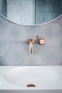 Copper, the metal of the moment, has finally made its way to the bathroom, and the results are lovely.
