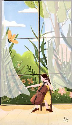 Music Illustration, Illustrations, Graphic Illustration, Cute Girl Drawing, Cartoon Girl Drawing, Pretty Art, Cute Art, Cute Patterns Wallpaper, Kawaii Wallpaper