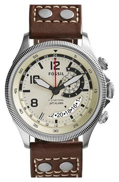 Fossil 'Recruiter' Round Leather Strap Watch, 42mm available at #Nordstrom