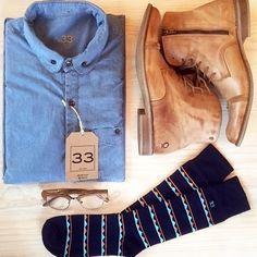 Men's outfit grid  Shirt and socks: 33 www.treinta-tres.com