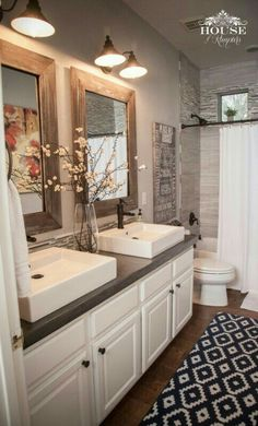 Master Bath idea, with 2 mirrors. Undecided on sink style.