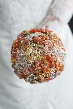 Amber Toffee Wedding Brooch Bouquet, Gold Owls Wedding Brooch Bouquet