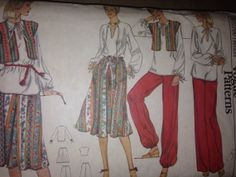 70's Rare vintage sewing pattern Very Easy Very by SewVintageCo, $30.00  Hard to find, original vintage sewing pattern Very Easy Very Vogue 9827 Misses Size 10, bust 32 1/2  Super current trend style similar to Palazzo and Jogger style pants
