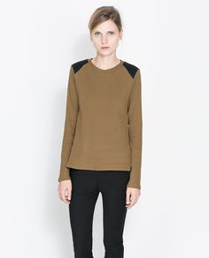 ZARA -T-SHIRT WITH GATHERED SHOULDERS