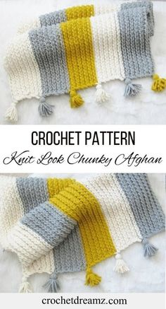 Free Knit-Look Chunky Afghan Crochet Pattern This crochet afghan pattern gives you a knit-look blanket. A combination of simple stitches is used to de. Free Knit-Look Chunky Afghan Crochet Pattern - knitting blanket , Afghan Crochet Patterns, Crochet Patterns For Beginners, Knitting Patterns Free, Crochet Ideas, Knitting Ideas, Knitting Projects, Crochet Afghans, Free Pattern, Easy Crochet Blanket