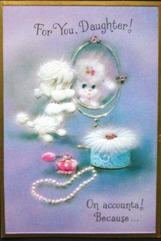 Vintage Birthday Greeting Card Daughter White Poodle Looking in Mirror Pearls | eBay