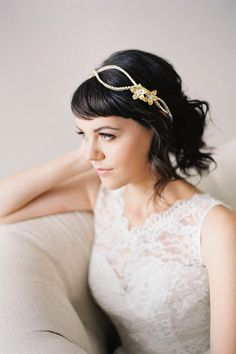 Double Flower Crystal Wedding Headpiece #210HB | This crystal headpiece is accented with two gold flowers with enamel flower and crystal centers.  You can wear this piece as a headband, or over the forehead, depending on the look you want.