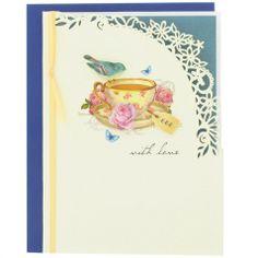 Azure teacup greetings card
