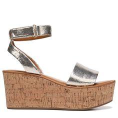 ebdcd61f6ea8 Franco Sarto Women s Jovie Wedge Sandals (Gold Metallic) Silver Wedge  Sandals