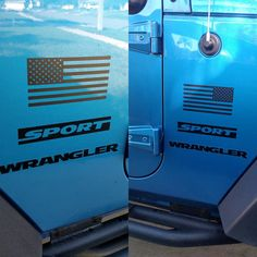 Set of Jeep Wrangler American Flag Decals 3M Matte by DecalDoctor