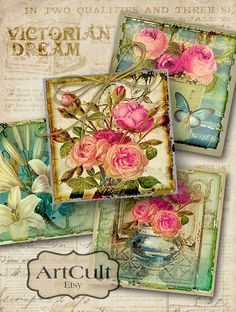 VICTORIAN DREAM - Digital Collage Sheet 2x2 inch size Images Printable Download for magnets pendants greeting cards gift tags scrapbook
