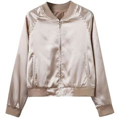 Khaki Zip Up Satin Bomber Jacket ($38) ❤ liked on Polyvore featuring outerwear, jackets, tops, flight jacket, khaki jacket, woven jacket, blouson jacket and bomber style jacket